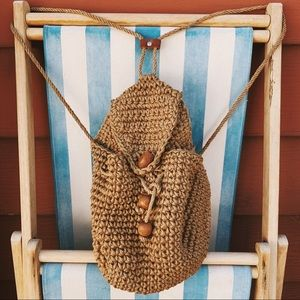 Vintage hemp jute bohemian backpack